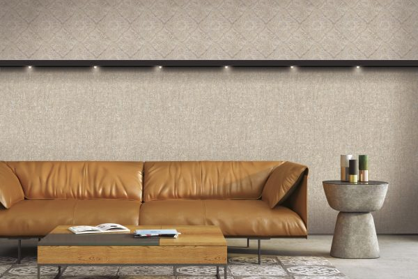 3D illustration. Interior of a gray living room with a brown leather sofa